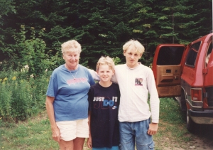 Grandma Annie, Chris and Pete at the cottage after camp: Maine, 1994