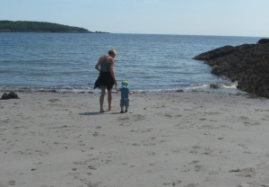 Viren and Grandma at Sandy Cove:  West Point, Maine
