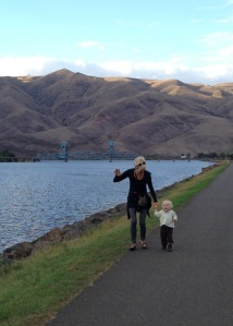 Grandma and Viren at Snake River: Lewiston Idaho, September 26, 2013