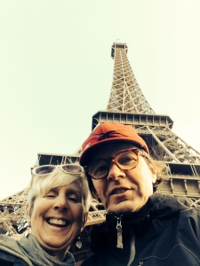 Our first selfie:  Cam and Helen at Eiffel Tower: Paris, February 21, 2014