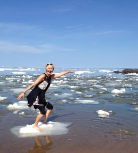 Feeling like a teen: ice-surfing on Superior. May 30, 2014