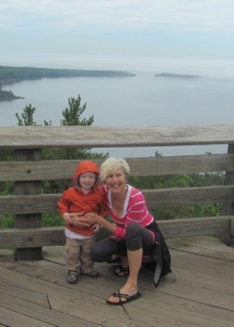 Viren and Grandma: On top of Sugarloaf. Marquette County, June 2014