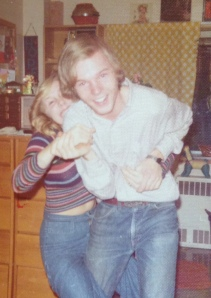 Helen and Cam in dorm room at University of Maine: 1975