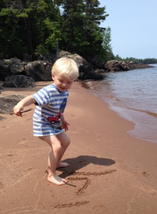 On a hike with Grandma, Michigan's Upper Peninsula, July 2015