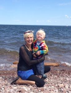 Grandma and Viren at Presque Isle, July 2015