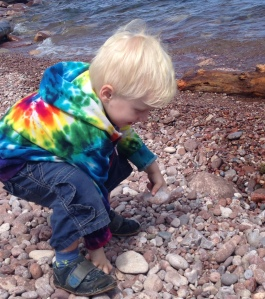Viren selecting rocks; Lake Superior, July 2015