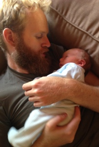 Adeline Zoe (three days old) and Daddy: Moscow, Idaho, August 2015